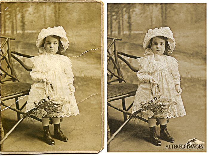 photoraph restoration of  young victorian girl