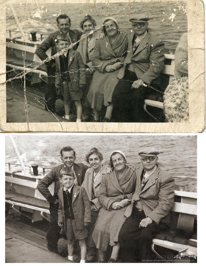 photograph restoration of familt boat trip.