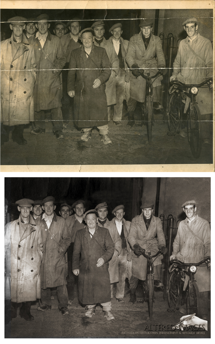 Photo restoration of an old mining photograph