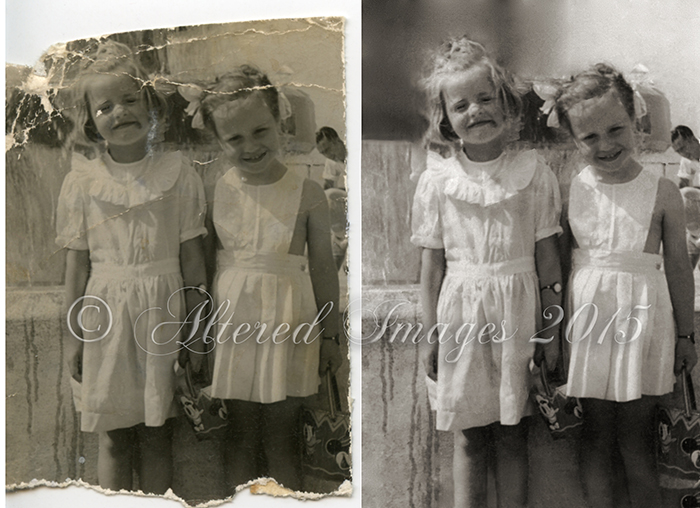 photo restoration of two little girls