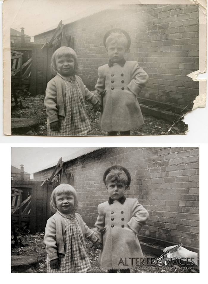 photo restoration of young boy and girl 1950s