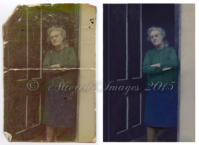 photo restoration of lady stand in door way